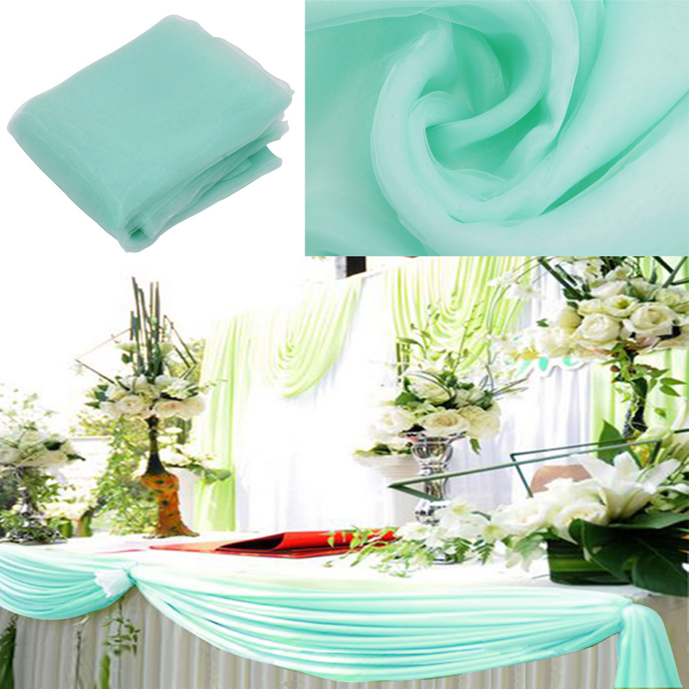 Free Shipping 1pcs Mint Green Organza Sheer Fabrics For