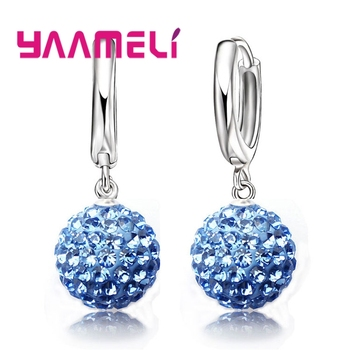 New Fashion Super Shiny Colorful Cubic Zirconia Earrings Jewelry For Women Girls Present 925 Sterling Silver Crystal 1
