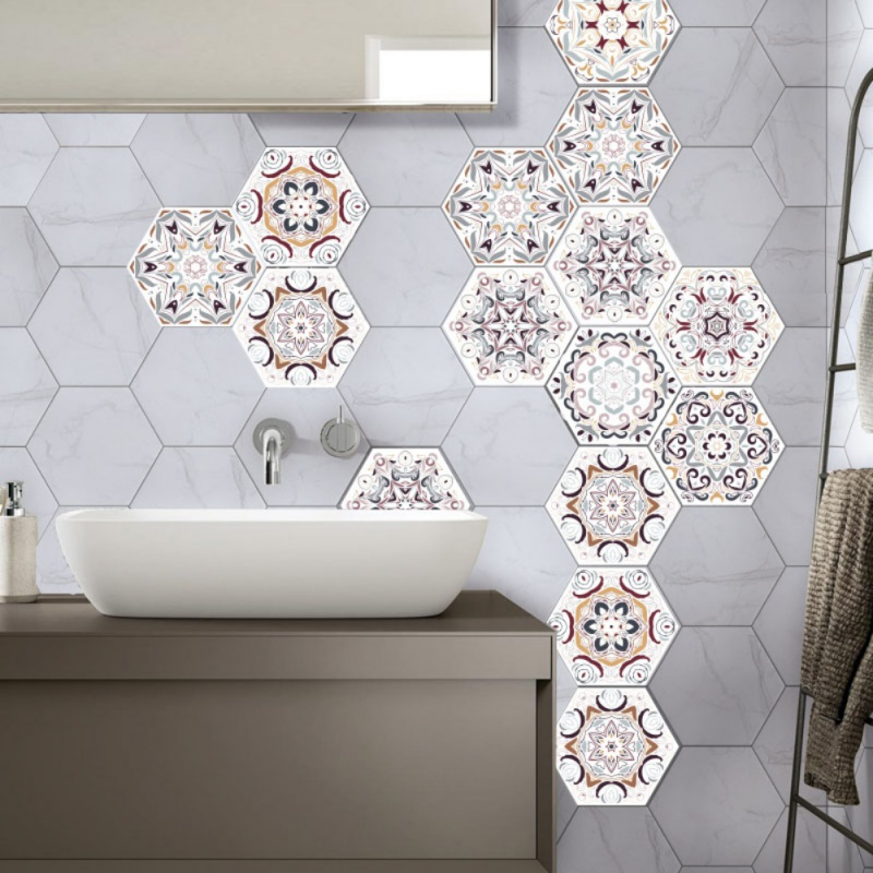 Hexagonal DIY 10pcs/set anti-slip floor sticker Self Adhesive Tile for floor decoration Kitchen Bathroom Decor