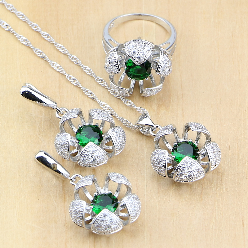 Bridal Jewelry Sets Green Zircon White Cz Beads Jewelry Sets Flower Silver 925 Jewelry For Women Drop Earrings/pendant/ring/necklace Set Vivid And Great In Style Jewelry & Accessories