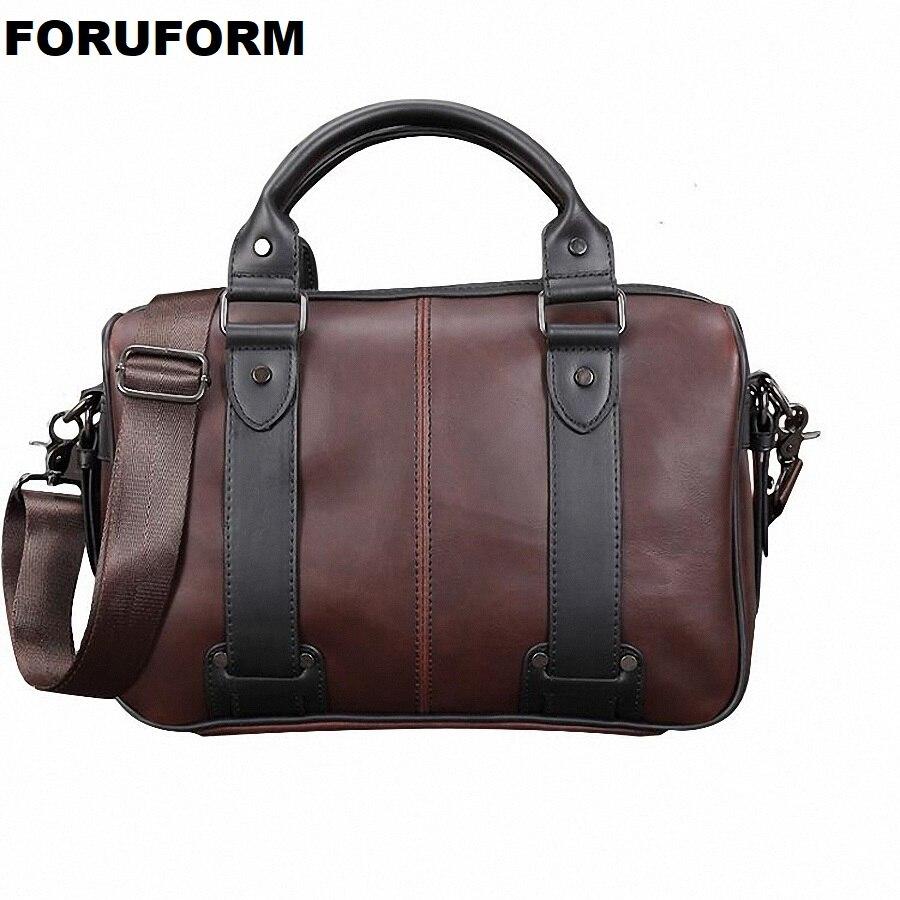 Men's Briefcase Crazy Horse Leather Handbag Men Casual Messenger Bag Leisure Man Shoulder Travel Bags Vintage Laptop Bag LI-2447