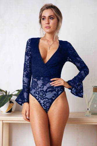 NEW Women Sexy Bodysuit Lace V-neck Attractive Jumpsuit Romper Leotard Tops 2020 Hot Sale