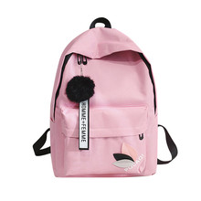 Canvas Women Backpack Solid School Bags for Teenage Girls Bo