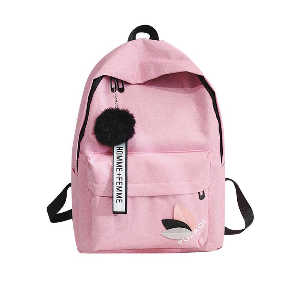 Lona feminina mochila sólida sacos de escola para meninas adolescentes menino mochila de viagem casual mochilas mochila saco a dos