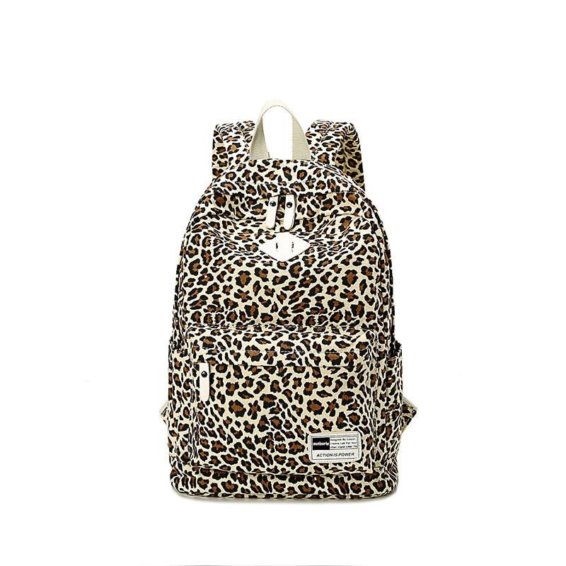 AUGUR Women Girl Backpack Canvas Printing Leopard Backpack Backpack School Bag For Girls Mochila Escolar Feminina