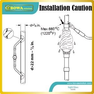 """Image 5 - El cristal de Mira roscado de 1/4 """"indica el estado de refrigeración y refrigerante en el sitio para proteger el sistema en funcionamiento seguro"""