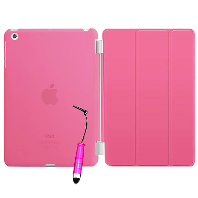 New Smart Stand Magnetic Leather Case Cover For Apple iPad 5/iPad Air colour:Pink Translucent