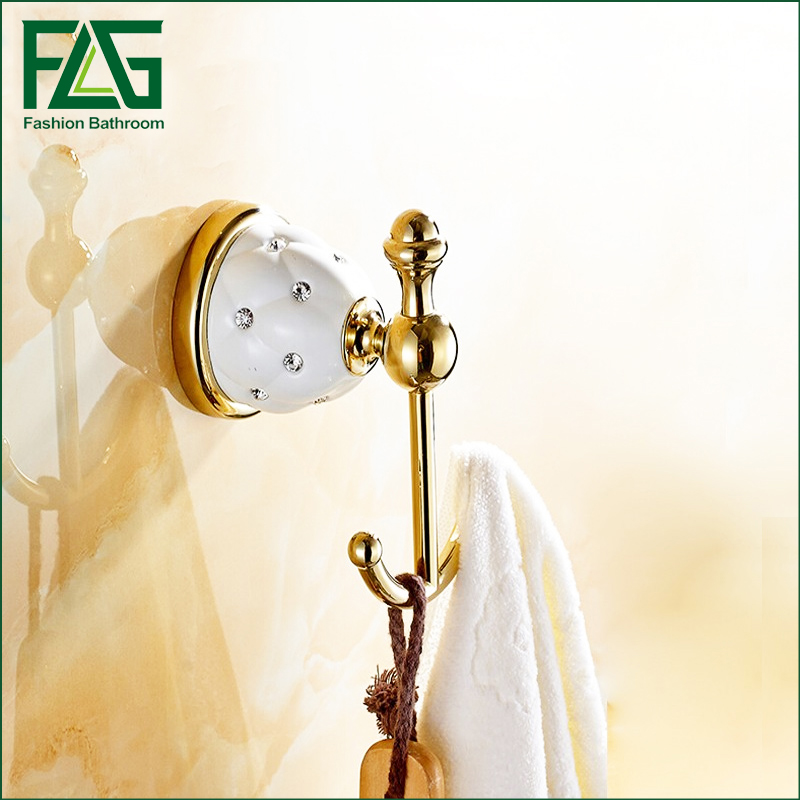 Free Shipping Luxury Crystal Brass Gold Robe Hook Bathroom Hangings Gold Towel Rack Clothes Hook Crystal Metal Robe Hooks in Robe Hooks from Home Improvement