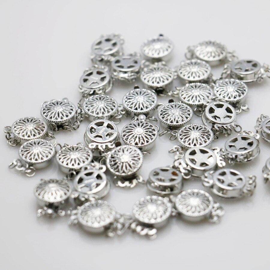 """10 יחידות 12*4.6 מ""""מ חם סיטונאי הצמד כפתור מתכת אבזר כסף-צלחת לשרשרת צמיד עיבוד חלקים נשים תכשיטי ביצוע"""