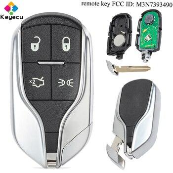 Clé de voiture à distance KEYECU-bouton lumineux 4 boutons & puce 433 MHz & ID46-FOB pour Maserati Ghibli quattroporte-fcc ID: M3N7393490