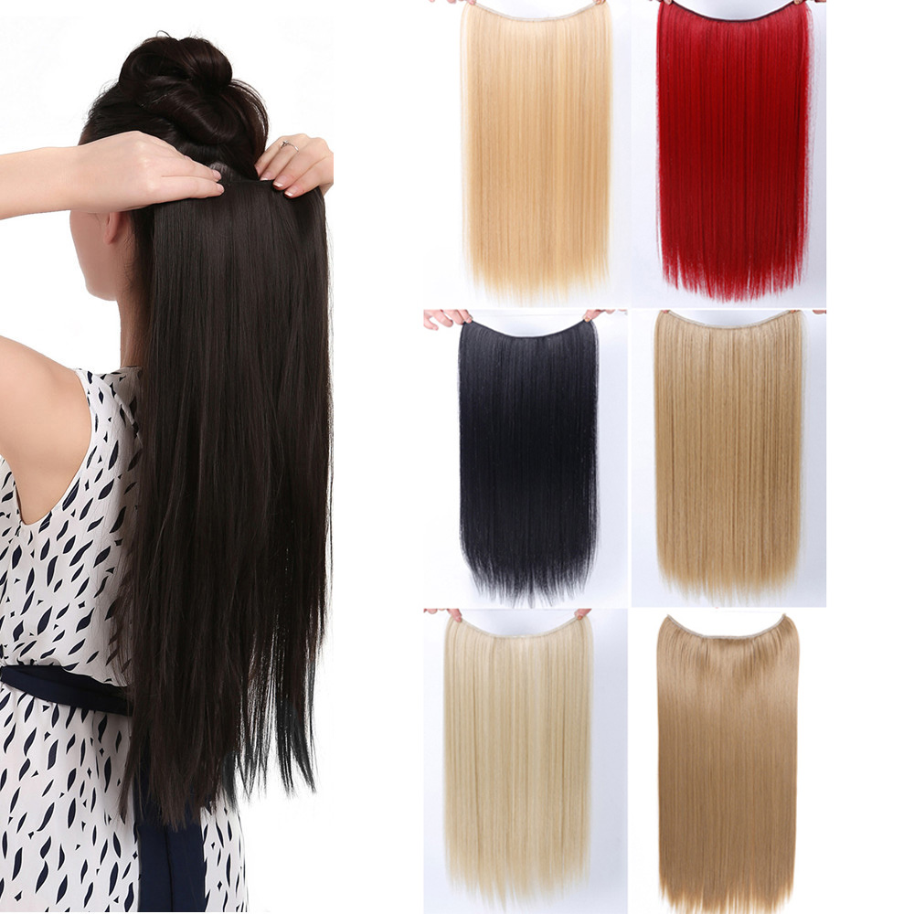 24 inch Invisible Wire No Clips in Hair Extensions Secret Fish Line Hairpieces Silky Straight real natural Synthetic JINKAILI