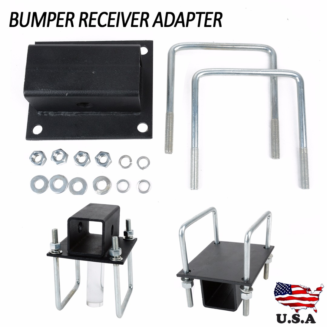 RV Bumper Hitch Receiver Adapter Bike Rack Cargo Travel Carrier Mount Auto Replacement Parts for 4 inch square RV Bumpers