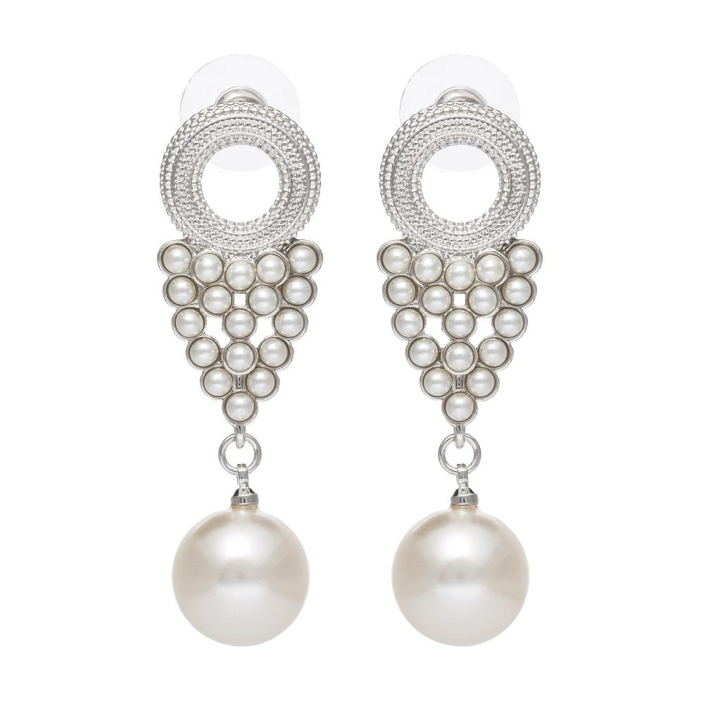 ISHOW Design Vintage Wedding bride pear Earrings Long Dangle Silver Plated earrings for  ...