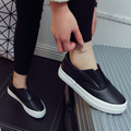 Free Shipping  Fashion Canvas Shoes Slip-on Leather Casual Shoes Out-door Loafer Size35-40