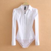 Элегантный боди-комбидресс, Женская Офисная белая рубашка с длинным рукавом, блузка с отложным воротником, топы, женская одежда