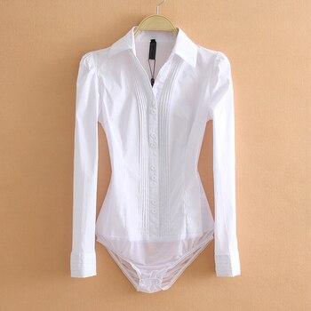 Elegant Bodysuits Women Office Lady White Body Shirt Long Sleeved Blouse Turn Down Collar Tops Female Clothing 2019
