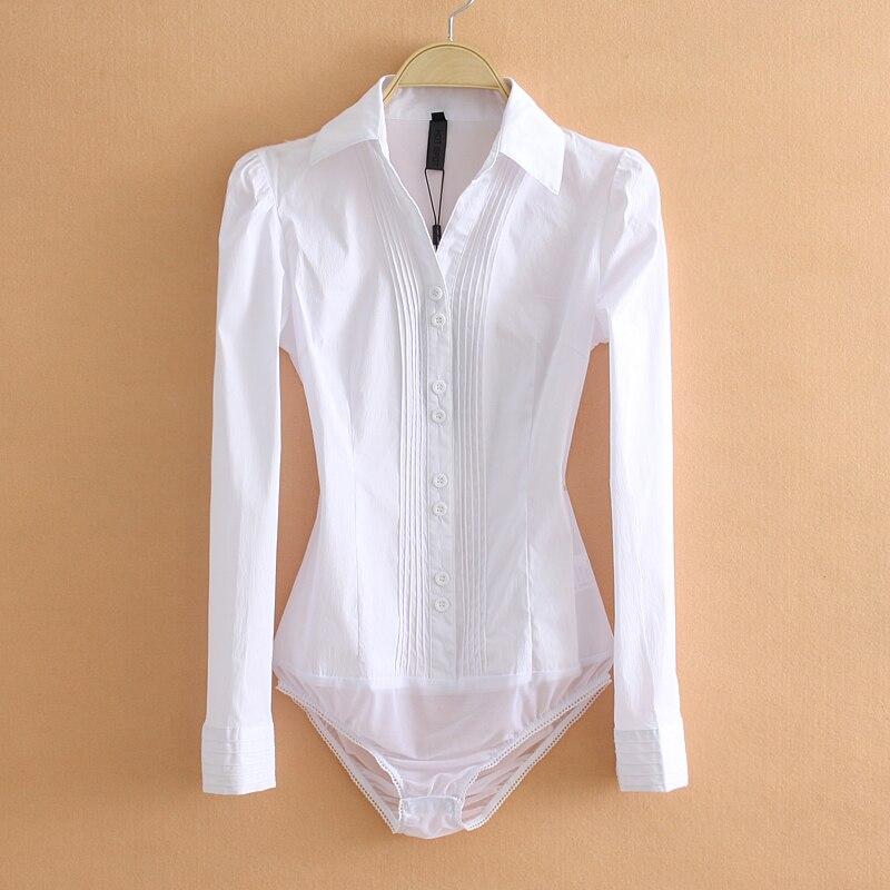 14.60  Elegant Bodysuits Women Office Lady White Body Shirt Long Sleeved Blouse Turn Down Collar Tops Female Clothing 2019
