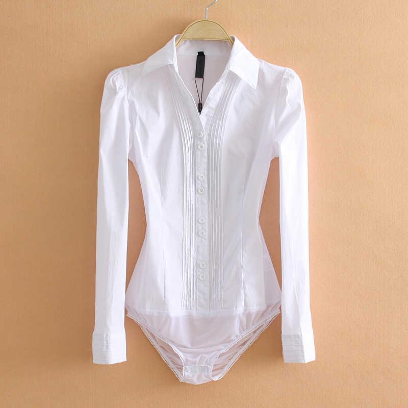 Élégant Body femmes bureau dame blanc corps chemise à manches longues Blouse col rabattu hauts vêtements féminins 2019