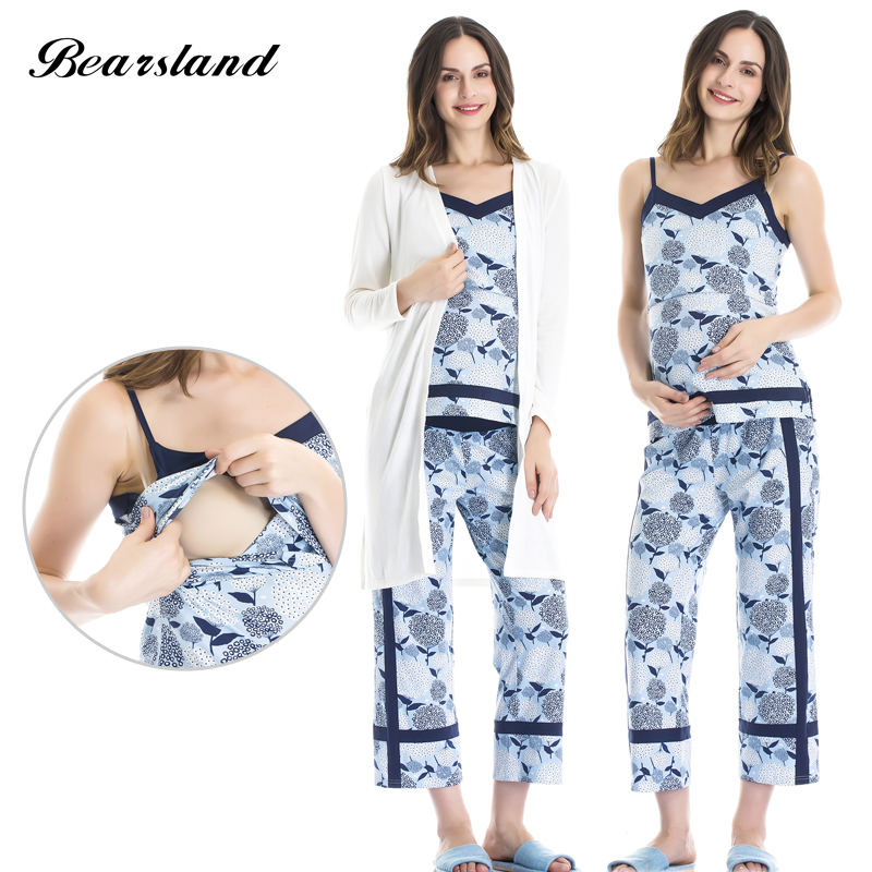 Bearsland Maternity Womens 3 Pieces Set Maternity night Nursing Pajamas Breastfeeding Top and Pant
