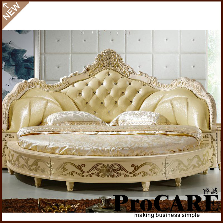 Modern European Elegant Noble Style King Size Round Bed Price Traveling Bedroom Furniture