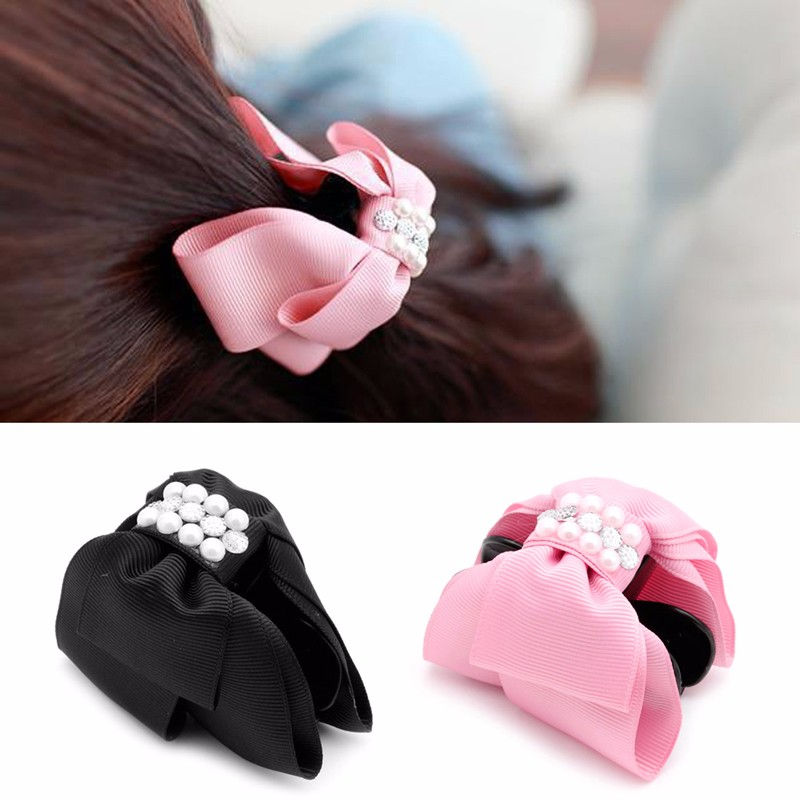 Black Pink Bowknot Bow Rhinestone Pearl Barrette Hair Clip Claw Clamp for Women Girl