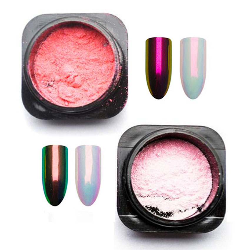 Aurora Mermaid Nail Glitter Power Mermaid Rainbow Pigment Chameleon Powder Mirror Unicorn Chrome Nail Art Decorations SF3023