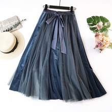 2019 New Spring Korean Tulle Skirt Tutu Women Skirt High Waist Pleated Skirt Cosplay Petticoat Elastic Belt faldas saias jupe цена