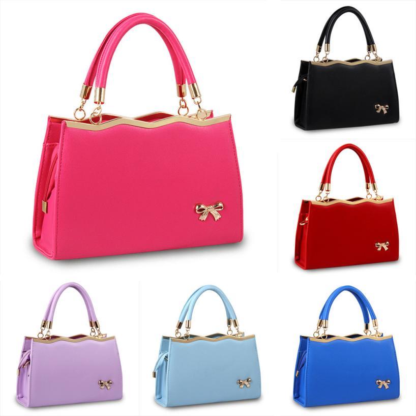 Для женщин Мода PU кожа лук сумка Для женщин Сплошной Цвет молния сумка большой Ёмкость сумка # F