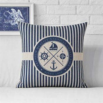 Blue Marine Symbols Cushion Cover