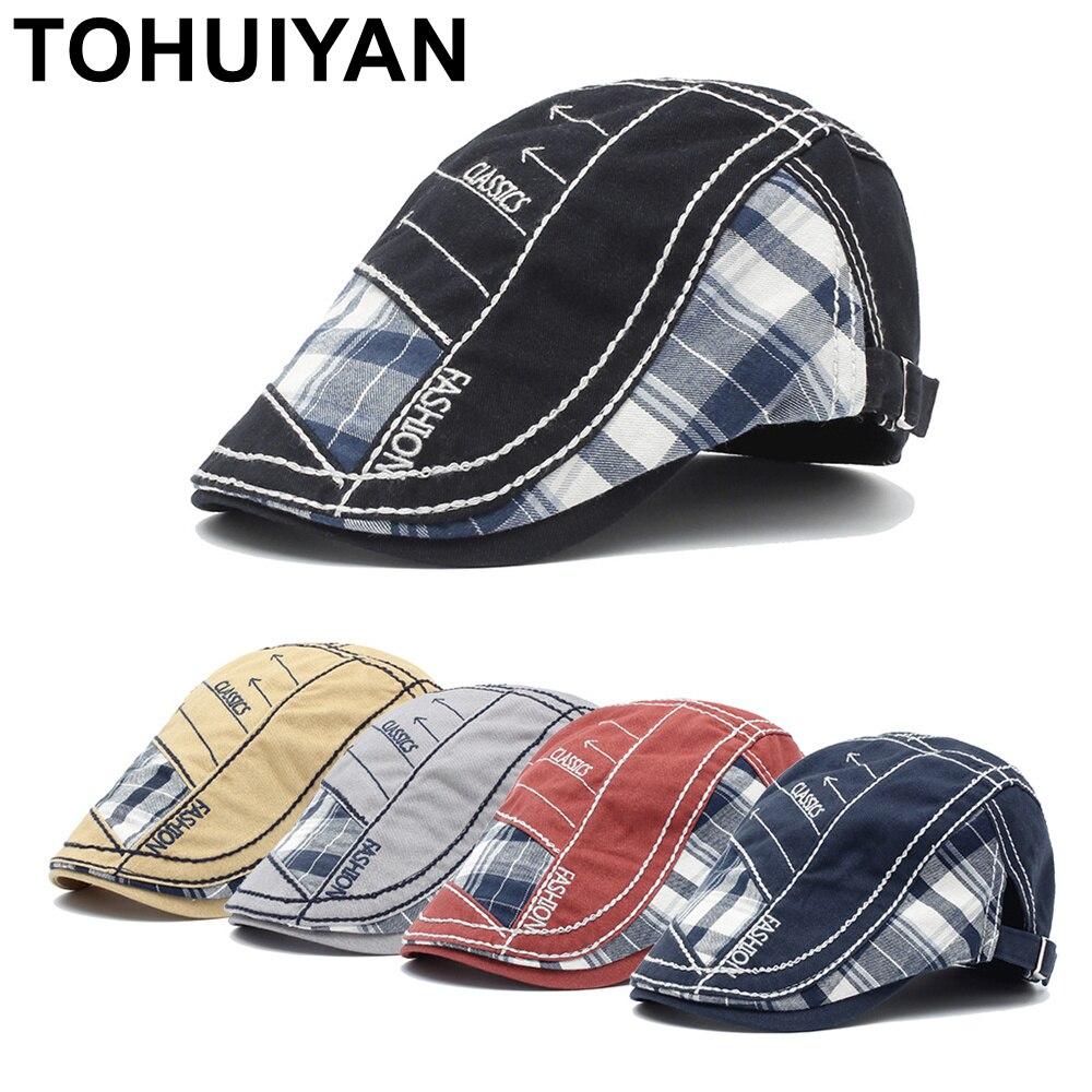 TOHUIYAN Classic Newsboy Cap Men Women Cotton Flat Peaked Caps Ducibill Visor Baker Boy Bone Boina Gorras Planas Casquette Hats