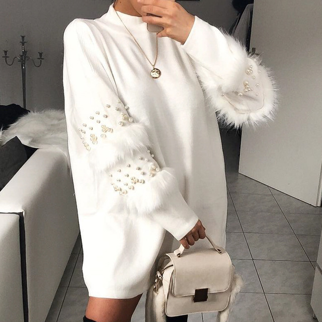 Pullover Women's Jumper Pearl loose rabbit fur Sweater Female Jumper Women Warm Sweaters thick Winter Knitted Oversized Sweater