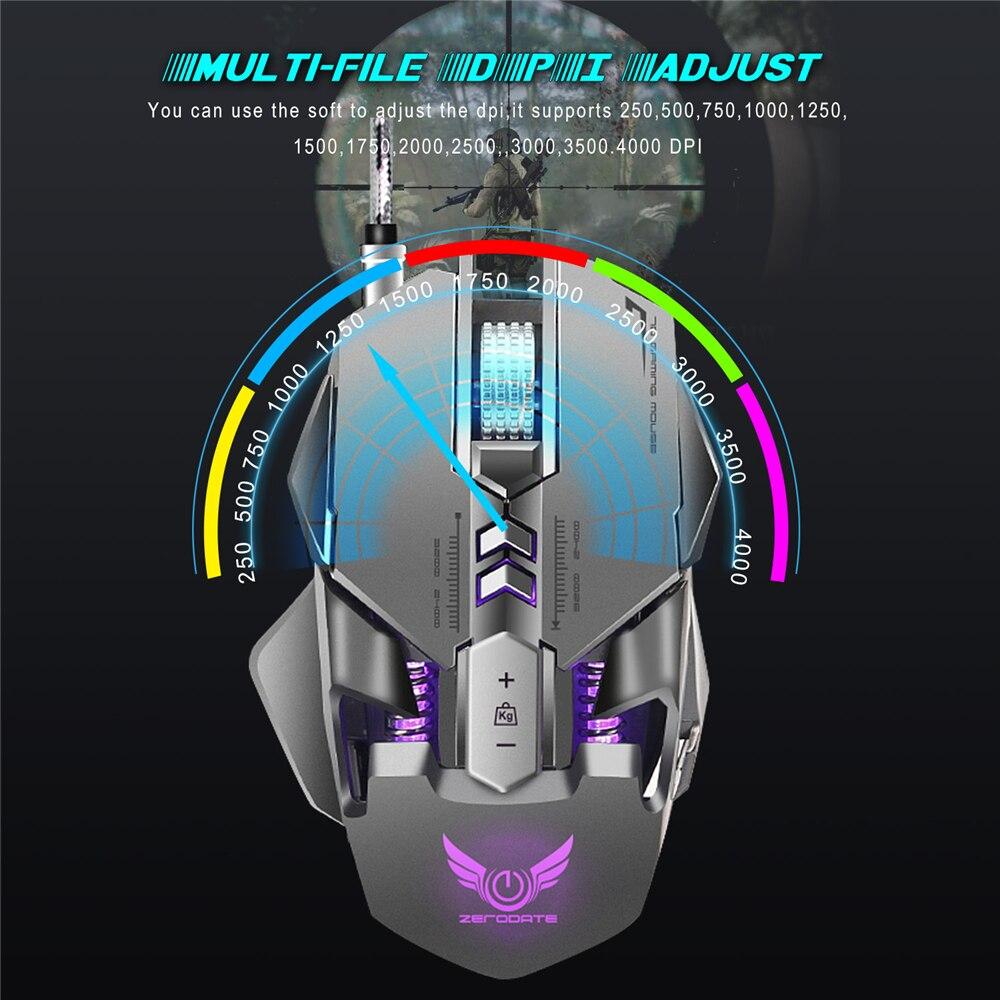 Souris de jeu filaire USB professionnelle 7 boutons réglable 3200 DPI LED lumière Variable USB souris de jeu mécanique pour ordinateur portable PC - 5