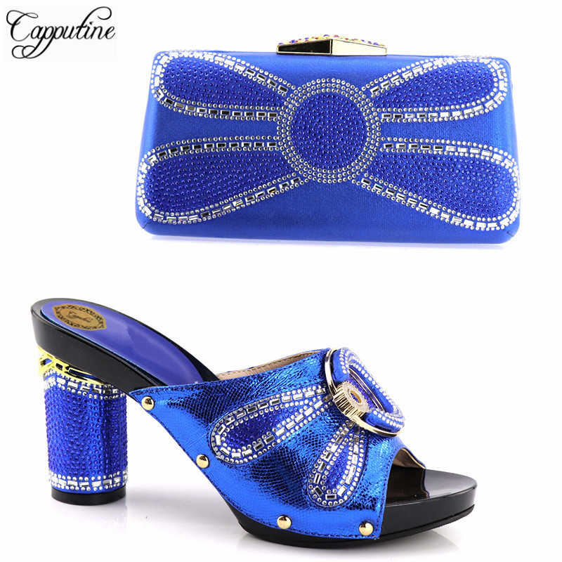 Capputine High Quality Fashion Shoes And Bags Matching Set Italian Rhinestone High Heels Shoes And Bag For Party Dress 5Colors capputine new arrival fashion shoes and bag set high quality italian style woman high heels shoes and bags set for wedding party