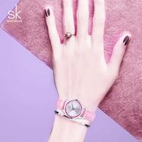 SK Brand 2016 New Casual Ladies Dress Watches Montre Femme Quartz Watch Women 4 Color Leather