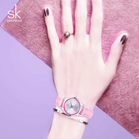 SK Brand 2016 New Casual Ladies Dress Watches Montre Femme Quartz Watch Women 4 Color Leather