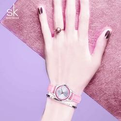 Shengke Ladies Watches Small Round Dial Quartz Watch Women Fashion Leather Watches Montre Femme SK 2018 Relogios Feminino #K0008