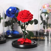 Beauty And The Beast Rose Flower Preserved In Glass Dome Home Decoration For Valentines's Day Christmas Gifts Artificial Flowers