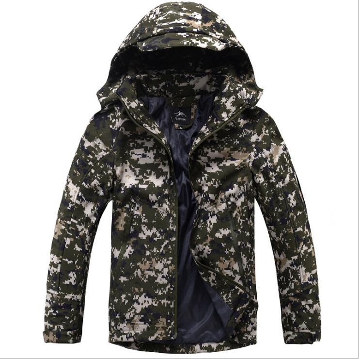 Hommes imperméable Softshell coupe-vent Camping randonnée en plein air chaud respirant manteau costume escalade Camping pêche chasse vestes