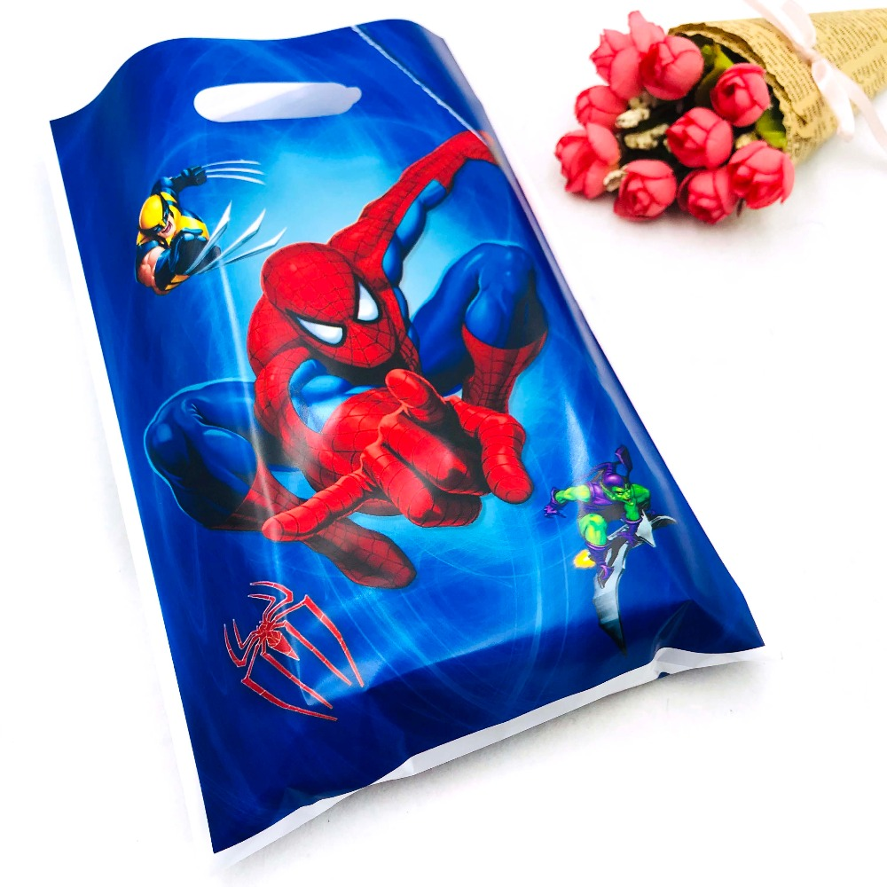 10pcs/set Marvel Comics Spiderman Boy Party Supplies Gift Bag Candy/Loot Bag Festival Birthday Decoration Party Supplies