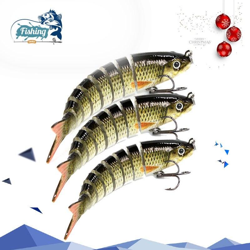 1 piezas 8,5 cm 8,1g pesca Wobblers 8 segmentos de Swimbait de pesca muskie crankbait cebo Artificial ganchos en el océano barco de pesca