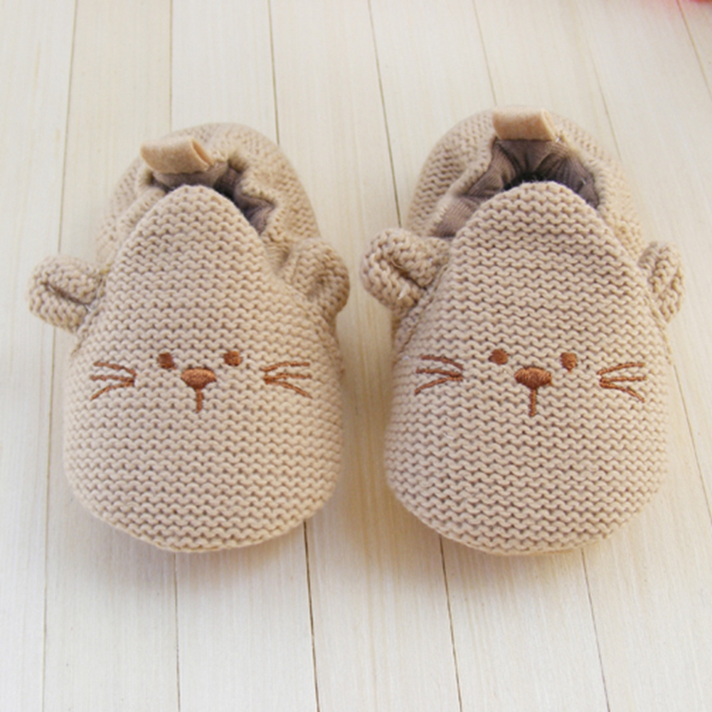 Купить с кэшбэком Brand Baby Shoes for Girl Boy Cute Cartoon Animal Crochet Mouse Newborn Infant Toddler Slippers Knitted Leather Sole Crib Shoe