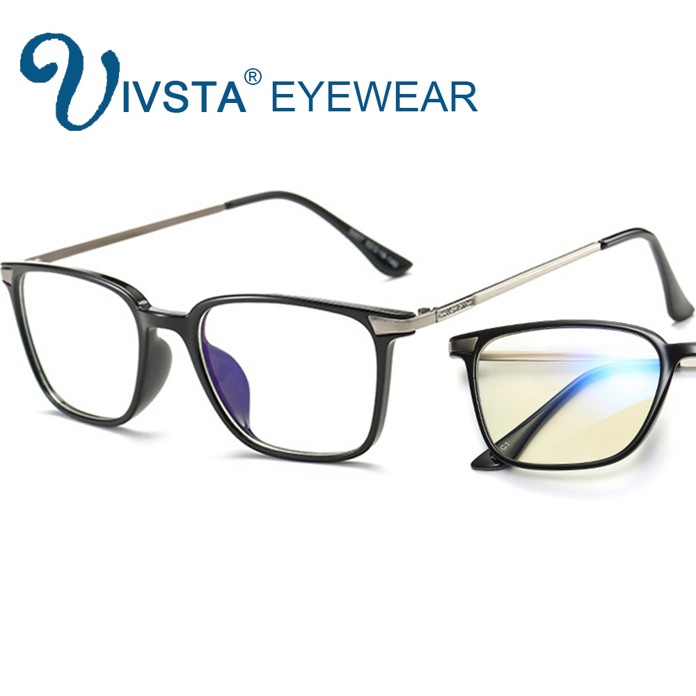 IVSTA gafas de equipo hombres anti azul rayos lentes claras Gaming gafas miopía mujeres marco óptico TR90 titanio grano E007