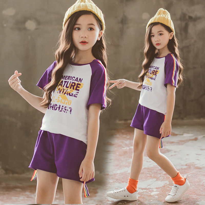 New Summer Kids Teens Girls Clothing Set Sports Track Suits Girls Suit Cotton Short Sleeve T Shirts Tees+Kids Pants Shorts CA019
