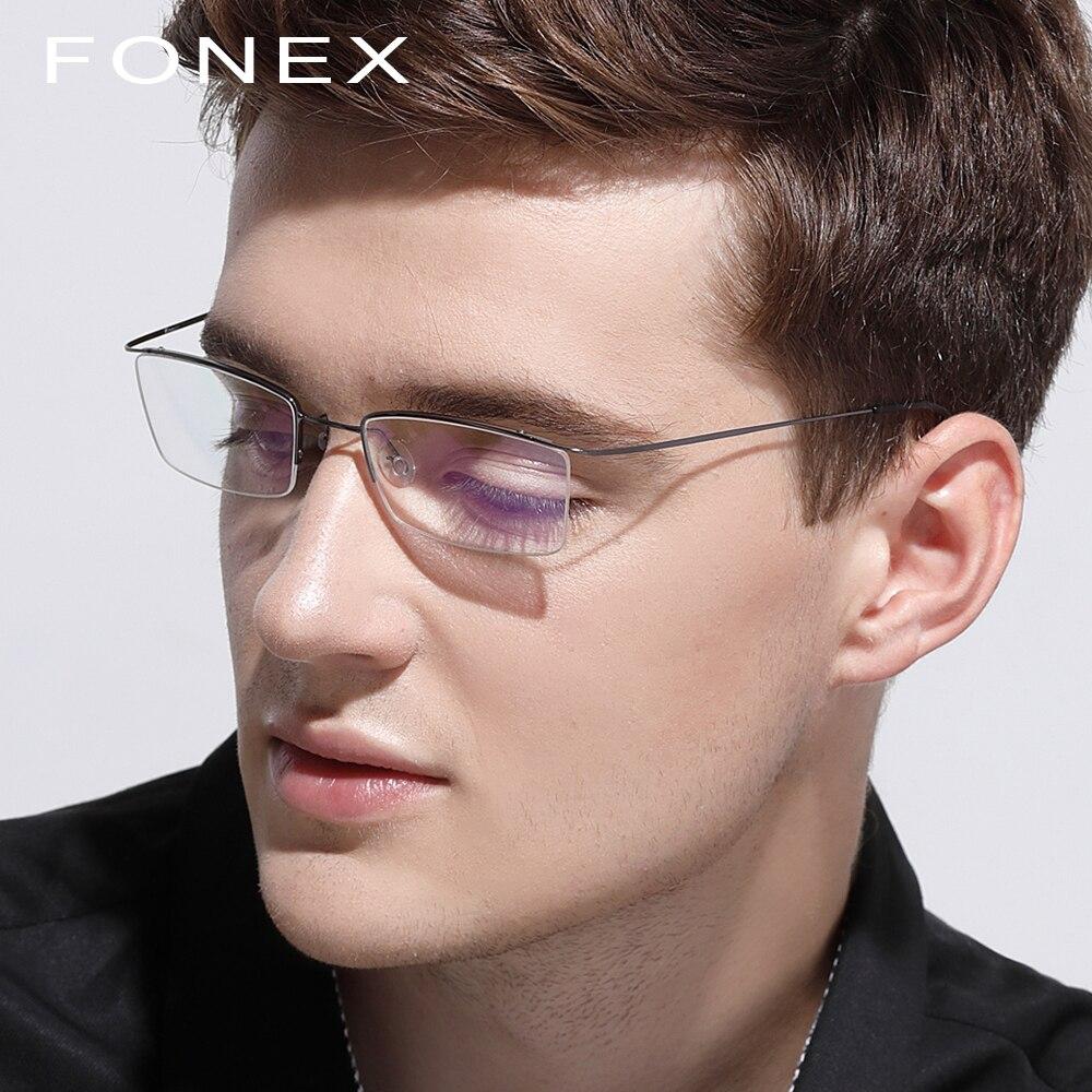 Óculos de titânio Quadro Homens Masculinos Ultraleves Óculos de grau  Mulheres 2018 Metade Óculos de Miopia Frame Ótico Coreano Sem Parafusos em  Armações de ... 40f4900491
