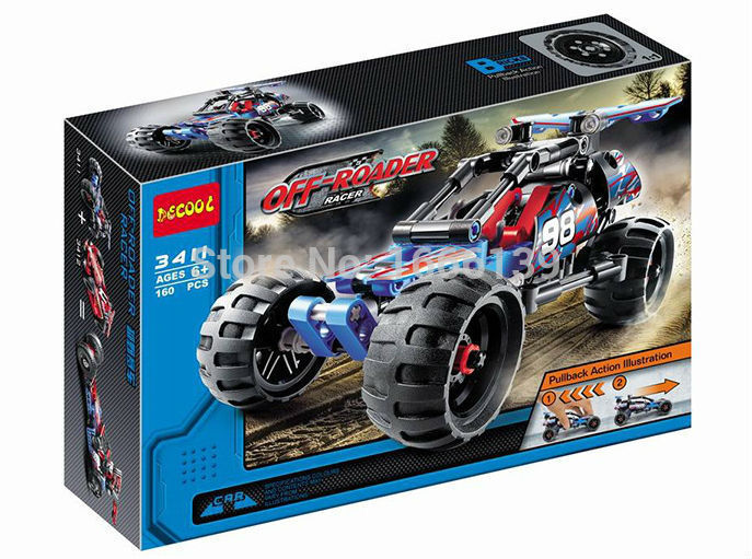 2018 New Decool Hot Sale 3411 Legousi Warrior Off-Roader Racer Pull Back Technic Car Building Blocks Compatible With Legoe