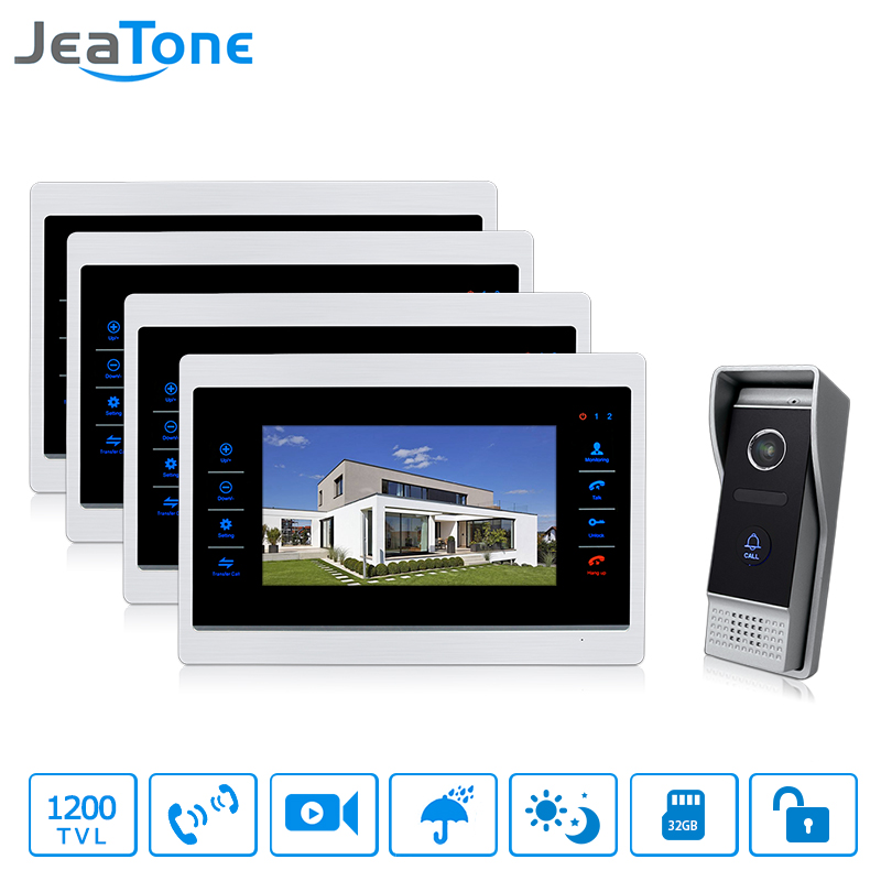 JeaTone 7 inch Video Door Phone Monitor Intercom Doorbell System With 1200 TVL Night Vision Camera Video Recording 4&1 homefong 7 tft lcd hd door bell with camera home security monitor wire video door phone doorbell intercom system 1200 tvl