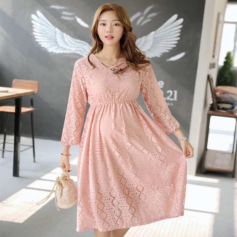 Spring New Pregnancy Clothes Maternity Pink Lace Hollow Out Midi Dress Fashion Elegant High Waist Women Party Wedding Dresses 19mm carburetor for eton beamer aprilia sr50 jog zuma minarelli jog 50 90 50cc 90cc pz19j sr50 scooter atv buggy