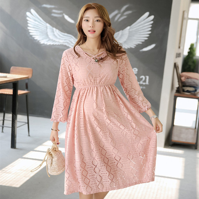 Spring New Pregnancy Clothes Maternity Pink Lace Hollow Out Midi Dress  Fashion Elegant High Waist Women b6ffa275b693