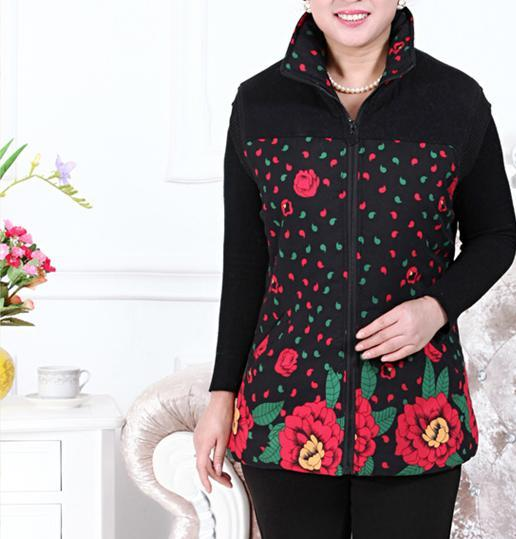 Hot!Free shipping !Middle-aged and old age season new large size ladies fashion loose cotton vest grid hooded mother female vest
