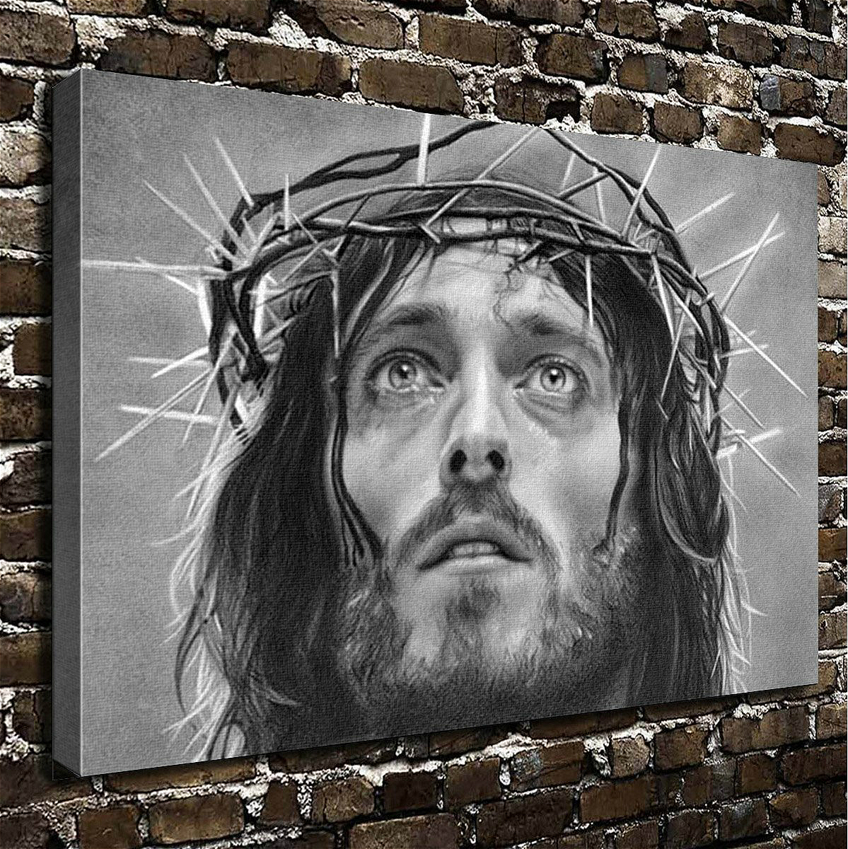 Christmas Gift Wall Art Painting Jesus Prints On Canvas Painting For Home Modern Decor Print Thanksgiving Black and White Ash